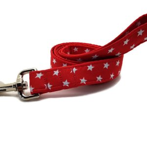 Red and White Stars Dog Lead